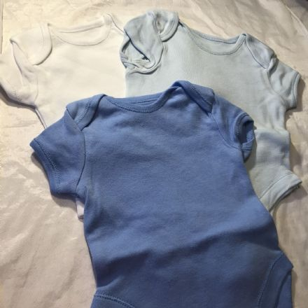 3 Blues and White Body Suits